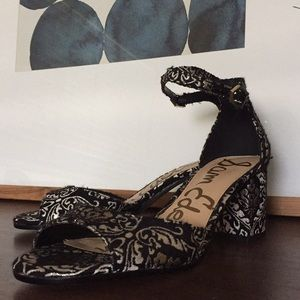 SAM EDELMAN Brocade Leather Strap Block Heel EUC 7